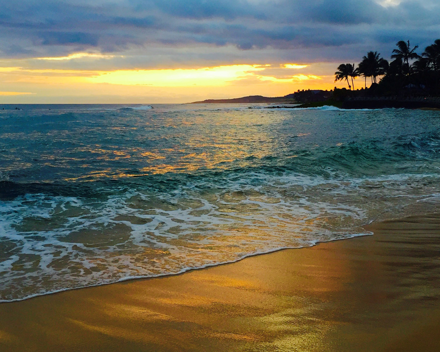 hawaii, beach, sunrise